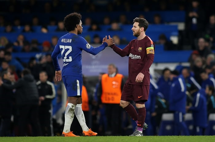 Willian and Messi after Chelsea and Barcelona tie