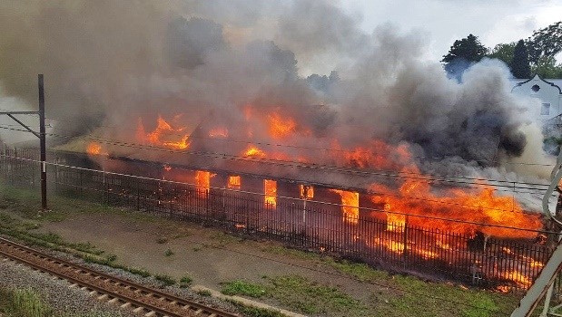 Nottingham Road railway station on fire on Wednesday afternoon.