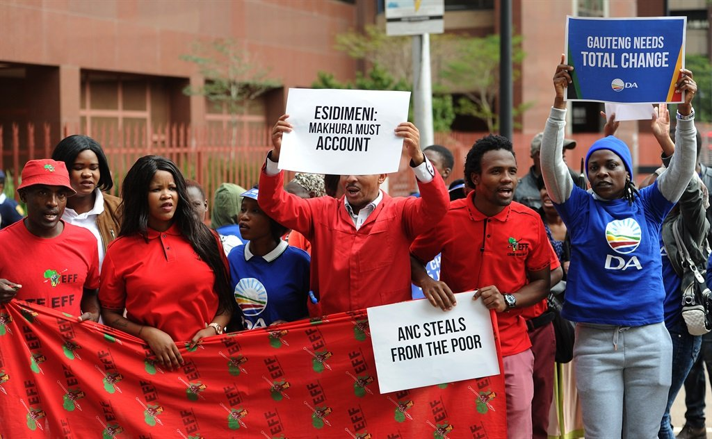 Opposition parties protest at the Gauteng state of the province address. (Felix Dlangamandla, Netwerk24)