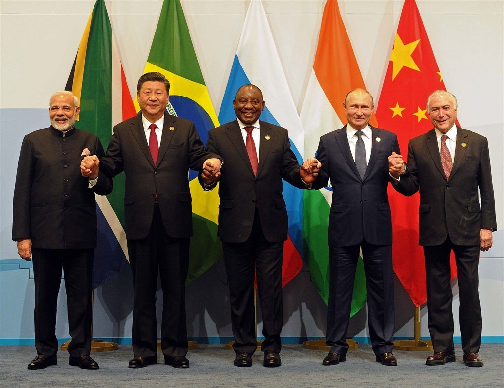 Members of the major emerging national economies group BRICS, with, from left, Prime Minister Narendra Modi, China's president Xi Jinping, South African president Cyril Ramaphosa, Russia's president Vladimir Putin, and Brazil's president Michel Temer at the BRICS summit in Johannesburg. Picture: AP