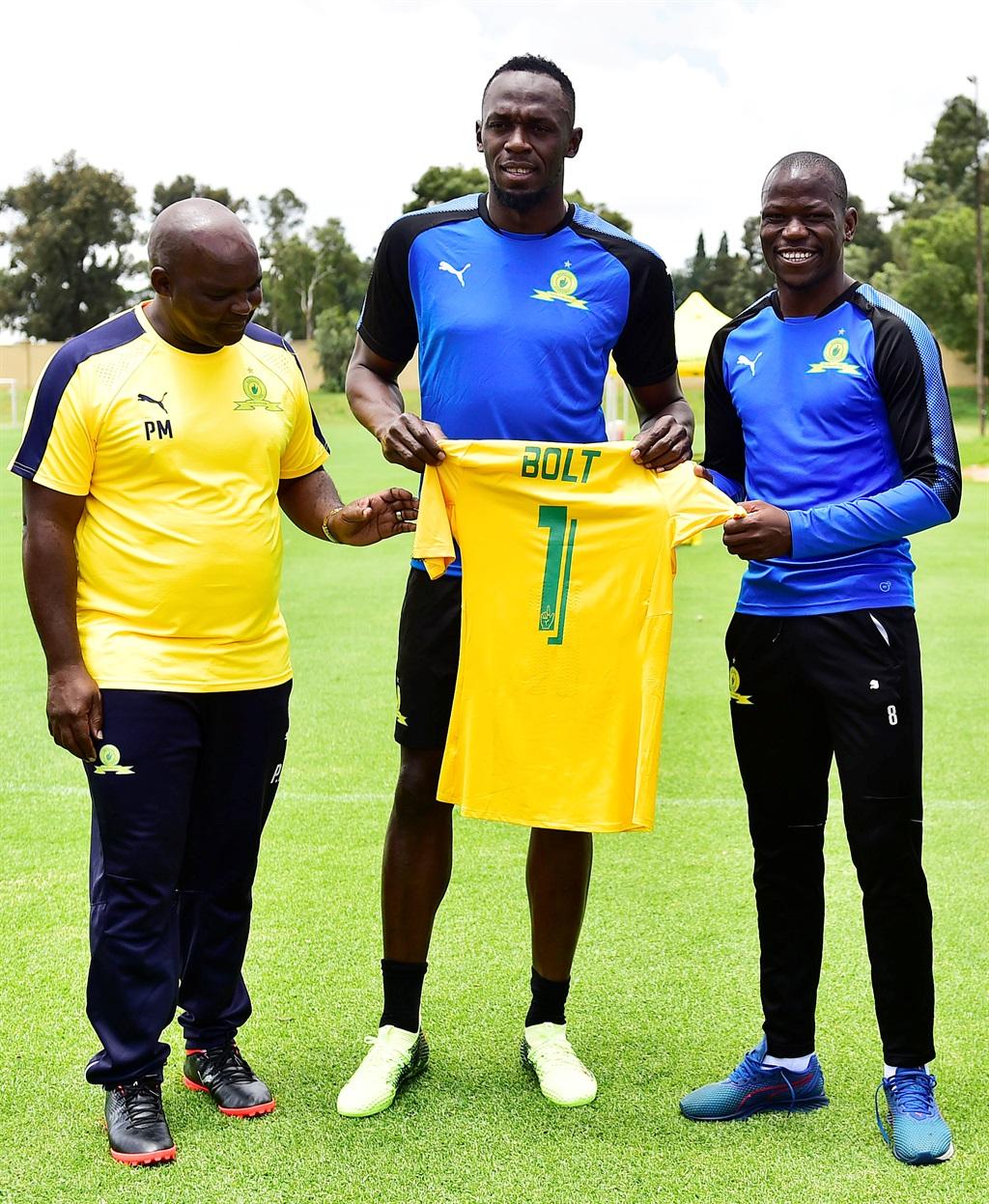 Mamelodi Sundowns coach Pitso Mosimane, Olympic sprint legend Usain Bolt and Sundowns captain Hlompho Kekana Picture: Themba Makofane