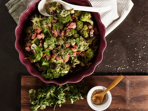PHOTO: Roasted broccoli with coriander pesto and crispy bacon