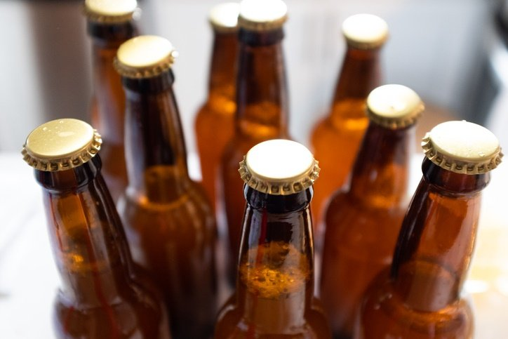 Beer bottles for home-brewed beer.