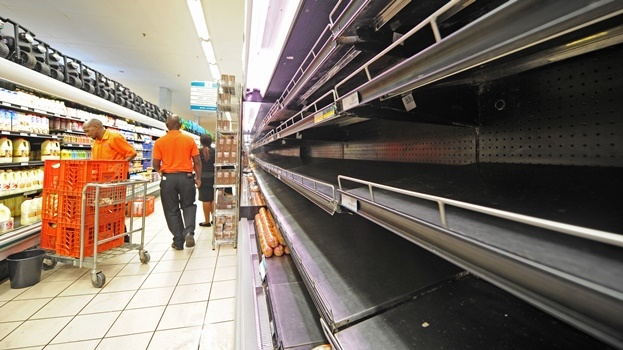 Empty shelves at Checkers in Scottsville Mall after cold meats were removed.