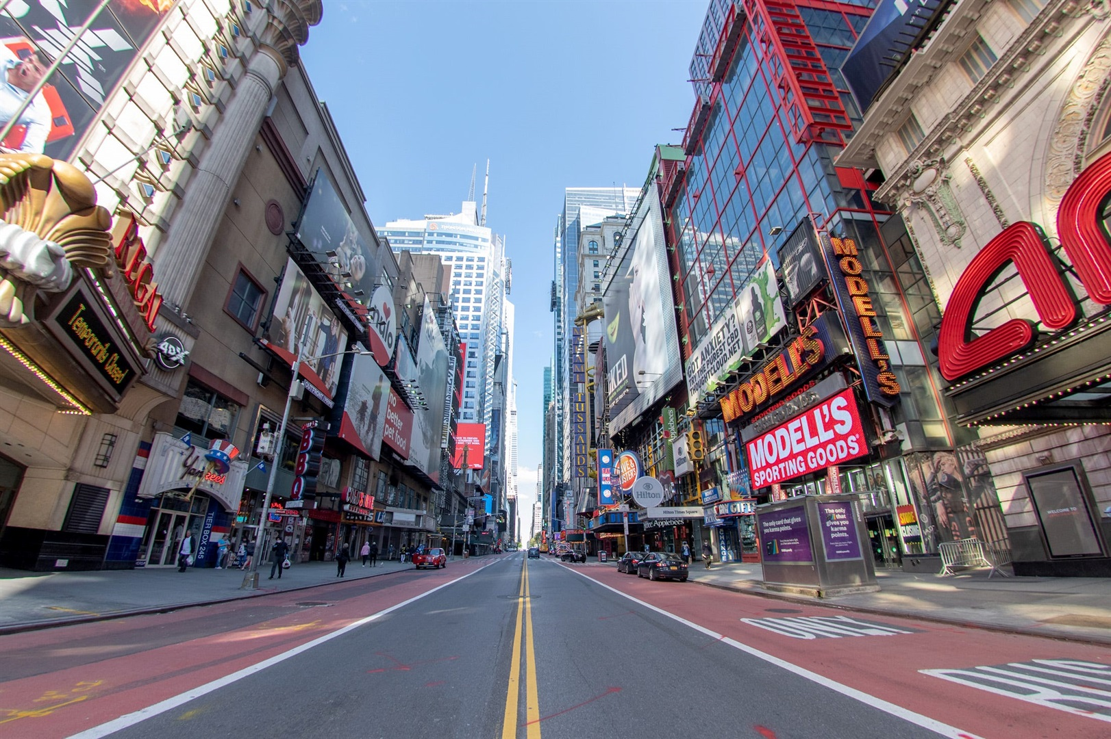 An empty 42nd street in Times Square amid the coronavirus pandemic