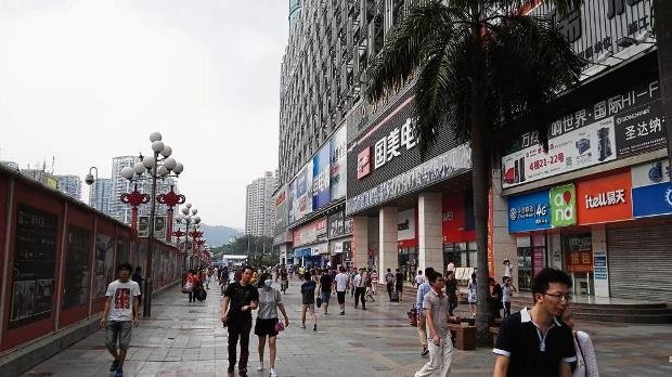 Endless stores retailing electronics line roads in Shenzhen.