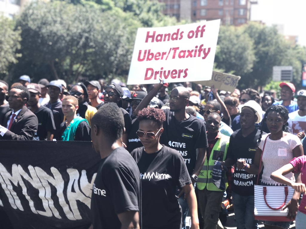 Uber and Taxify drivers. Picture: Juniour Khumalo