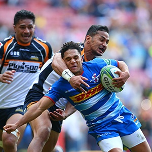 Toni Pulu of the Brumbies high- tackles Herschel Jantjies of the Stormers (Gallo Images)