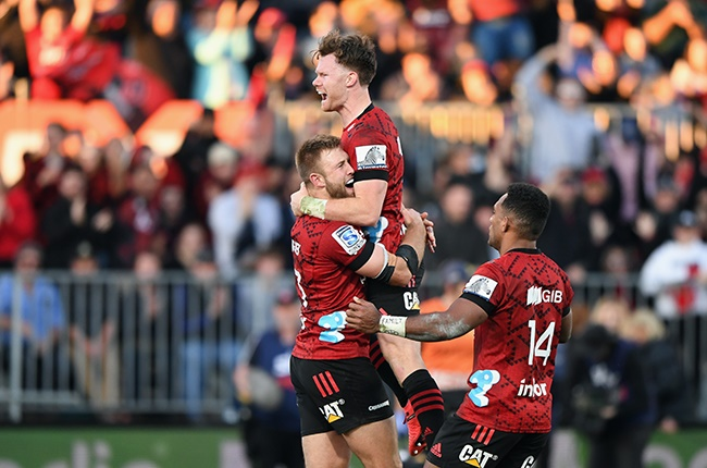 The Crusaders celebrate during their Super Rugby Aotearoa win against Highlanders in Christchurch on 9 August 2020.