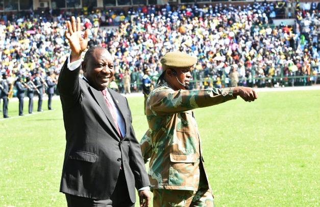 Cyril Ramaphosa alongside the military