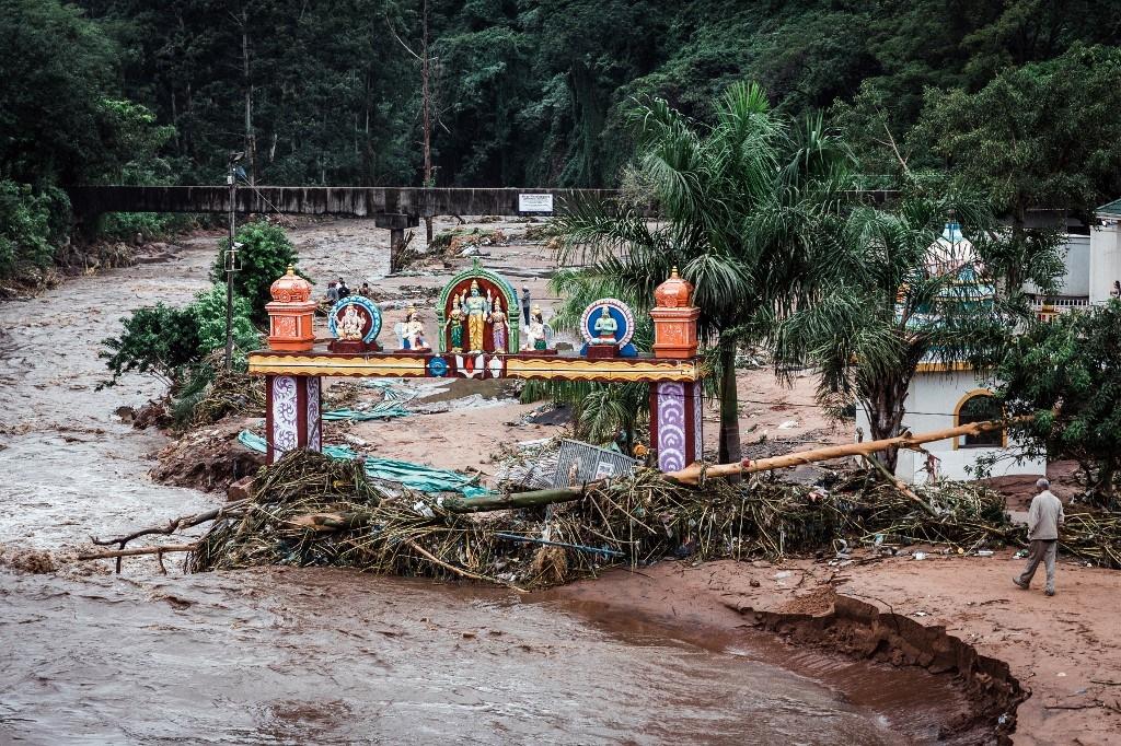 Flooding in the informal settlement of BottleBrush, south of Durban. (Rajesh Jantilal, AFP)