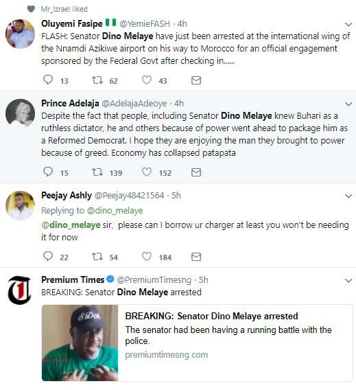 nigerians react to dino melaye's arrest
