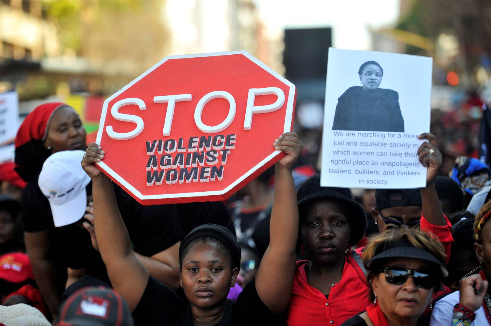South African women and non-gender- conforming individuals across Gauteng march their way to the Union Buildings in Pretoria. The women marched against gender-based violence under #totalshutdown. Picture: Rosetta Msimango