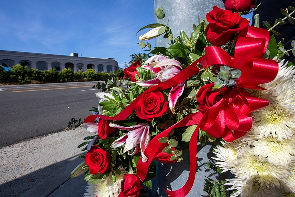 POWAY, CA - APRIL 27: A wreath is seen outside the