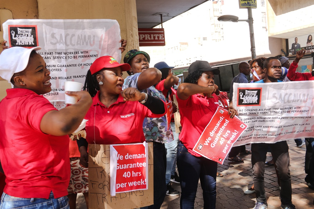 """SACCAWU members picket outside the Eloff street Shoprite branch over """"poor working conditions"""".PHOTO:"""