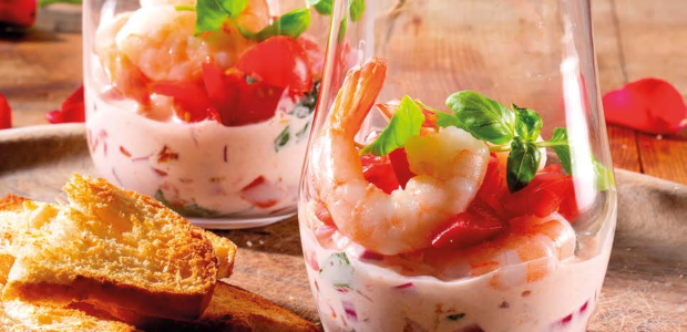 Prawn, tomato and basil cocktail with Melba toast