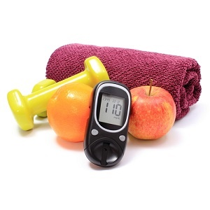 glucose meter with exercise towel and fresh fruit