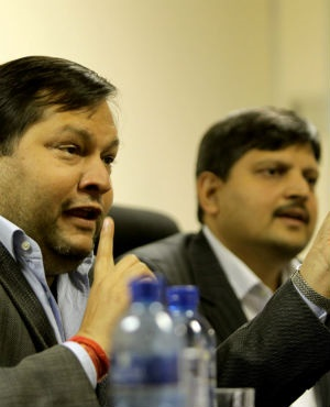 Indian businessmen Ajay and Atul Gupta speak to the City Press from the New Age Newspaper's offices in Midrand. (Muntu Vilakazi, Gallo Images, City Press, file)