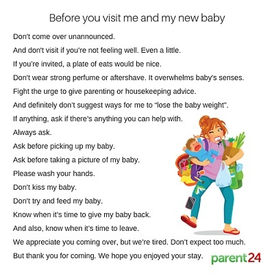 Rules for family visiting a newborn