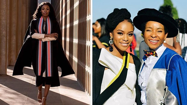 K Naomi and Nomzamo Mbatha in their graduation gow