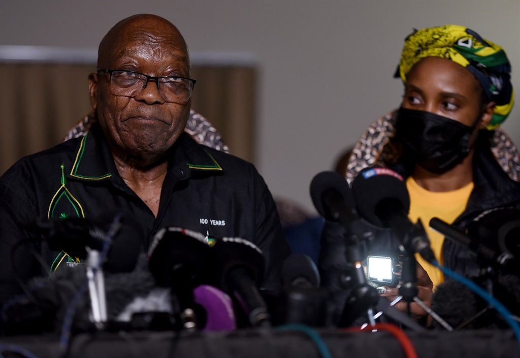 Former president Jacob Zuma was joined by his daughter, Duduzile Zuma-Sambudla during a media briefing on July 4, 2021. Photo: Tebogo Letsie/City Press
