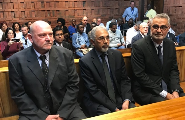 Former SARS officials Andries Janse van Rensburg, Ivan Pillay and Johann van Loggerenberg appear in the Pretoria Magistrate's Court. They are accused of spying on the Scorpions. (Alex Mitchley, News24)