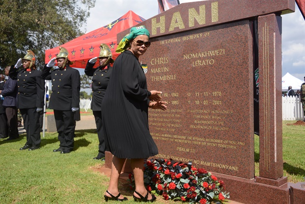 Chris Hani's widow, Limpho Hani, pays her respects at the wreath-laying ceremony during the 25 year anniversary commemorating Chris Hani's death on April 10, 2018 in Boksburg. (Frennie Shivambu, Gallo Images)