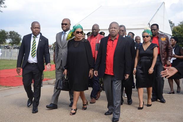 Ekurhuleni mayor Mzwandile Masina, Minister Nathi Mthethwa, Limpho Hani, Blade Nzimande and Lindiwe Hani walk during the 25 year anniversary commemorating Chris Hani's death on April 10, 2018 in Boksburg. (Frennie Shivambu, Gallo Images)