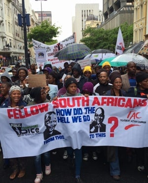 Protesters march to Parliament in Cape Town in an anti-corruption march. (Tina Hsu, News24)