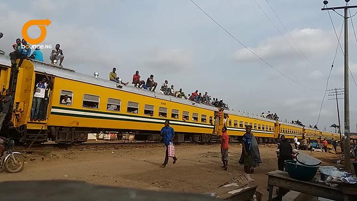 Train roof-top riders were on the train when it de