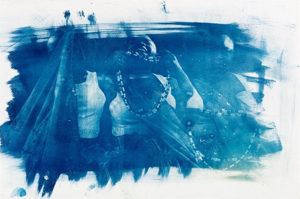 A cyanotype from the series Ambivalent Blueprint. (© Khayisile Mawhayi. Courtesy of Stevenson)