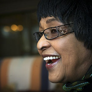 Winnie Madikizela-Mandela during an interview with the City Press newspaper at her home in Soweto in 2010. (Photo by Gallo Images/City Press/Leon Sadiki)