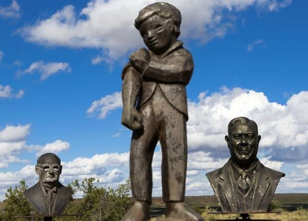 Statues of DF Malan, Orania's logo and Hendrik Verwoed are seen on a hill in Orania. (Lauren Mulligan, Gallo Images, The Times, file)