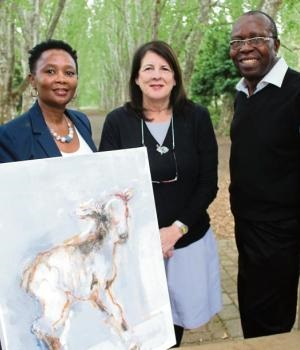 Art in the Park will be staged in the iconic London Plane Tree avenue in the botanical gardens next year. Celebrating the news are (from left) Lihle Dlamini, director of marketing and communications at Sanbi, artist Francoise Cheyne and Dumisani Mhlo