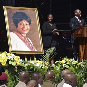 President Cyril Ramaphosa delivers his speech at the funeral of Winnie Madikizela-Mandela. Picture: GCIS