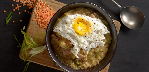 Potato and Ham Broth topped with Poached Egg