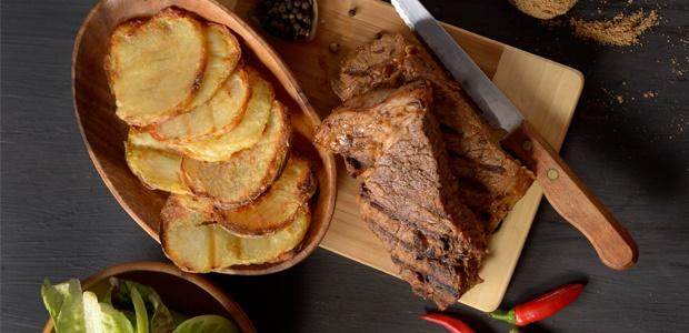 spicy rump steak and braaid potatoes