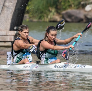 It was a solid performance from Christie Mackenzie (right) and Bridgitte Hartley (left) as they finished fourth in the women's K2 race at the 2019 ICF Canoe Marathon World Championships in Shaoxing, China on Sunday. (Bence Vekassy/