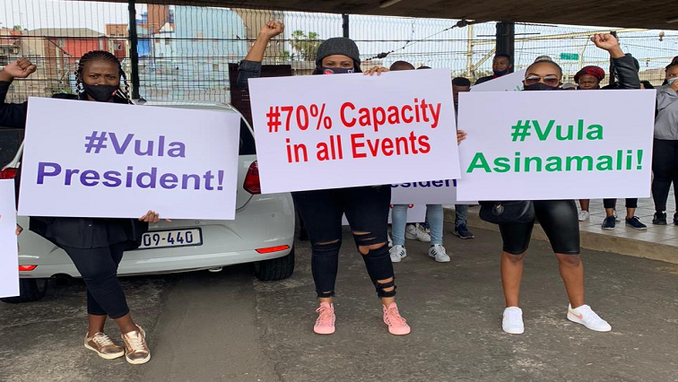 South African performing artists protesting on the N3 earlier this year about the impact on their livelihoods of the Covid-19 lockdown.
