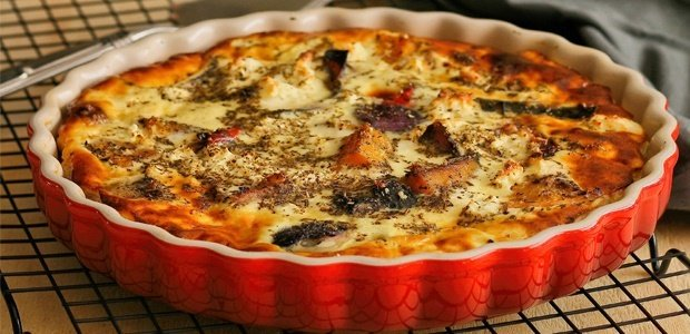 cheesy roast vegetable quiche in bowl