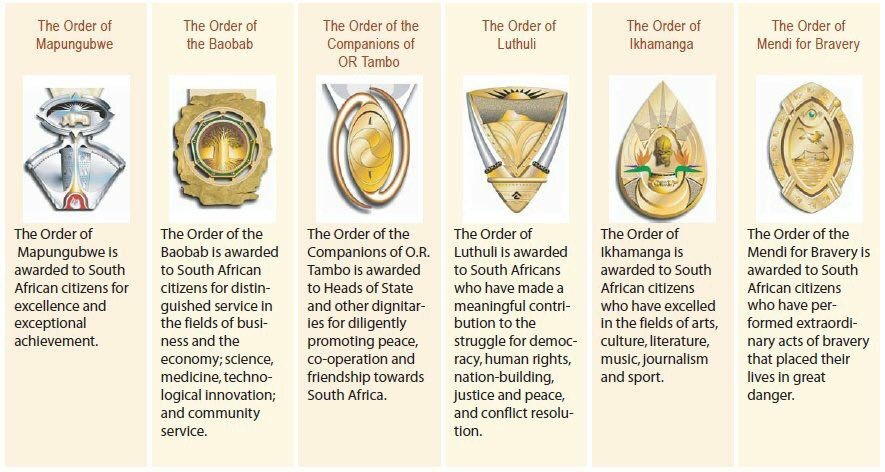 The national orders of South Africa. Picture: GCIS