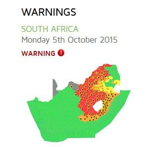Heatwave warning map
