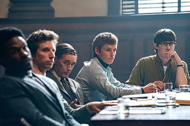 Yahya Abdul-Mateen II, Ben Shenkman, Mark Rylance, Eddie Redmayne and Alex Sharp in The Trial of the Chicago 7.