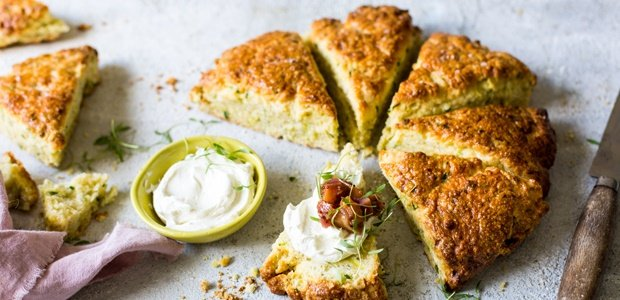 delicious scones with a bowl of whipped goat chees