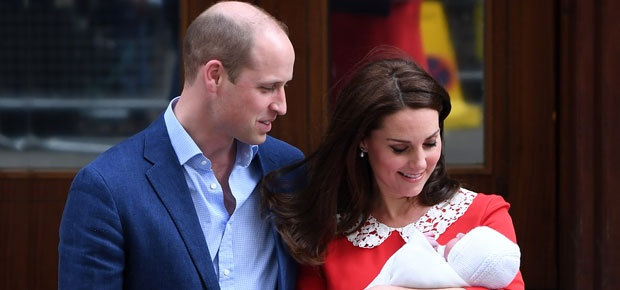 The Duke and Duchess of Cambridge and their newbor
