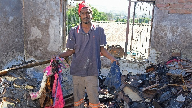 One of the fifty-four tenants who were left destitute after a fire gutted most of the large, double-storey house on Lahore Road on Monday morning.