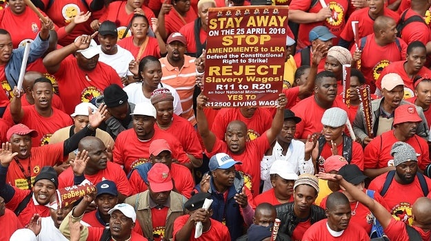 Trade union federation Saftu marched in Cape Town