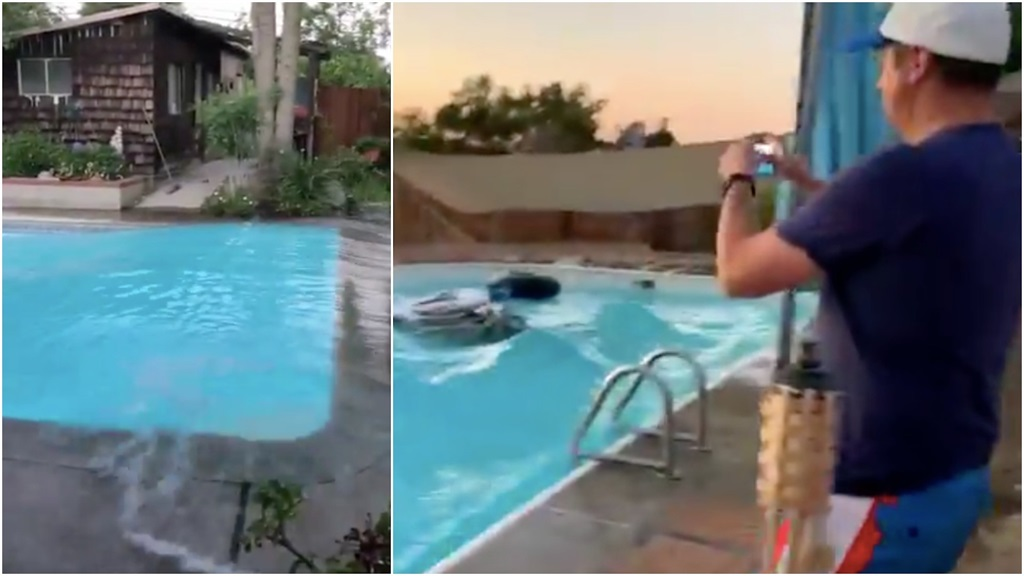 Videos Show The 7 1 Magnitude Us Earthquake Made Swimming