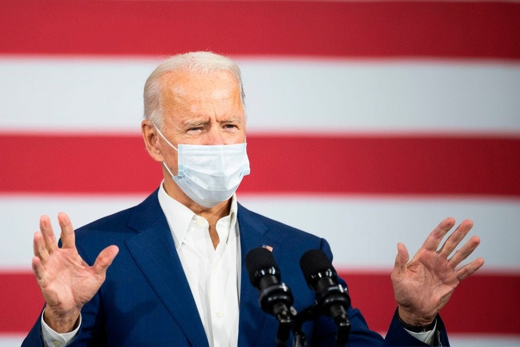 Joe Biden delivers remarks at an aluminium manufacturing facility in Manitowoc, Wisconsin, on 21 September 2020.