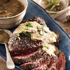 Ostrich steaks with creamy mushroom sauce